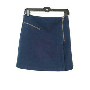 Topshop navy blue zip skirt